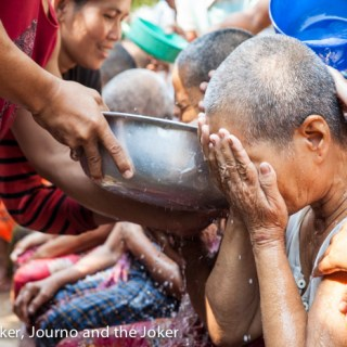 Washing the grandparents ceremony at Khmer New Year