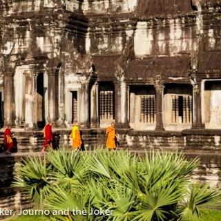 Buddhist monks walking at Angkor Wat, Cambodia