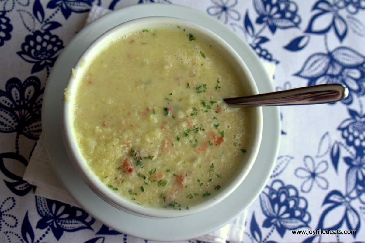 Bacon Cauliflower Soup - dairy free, low carb, low fat, grain & gluten free, THM FP