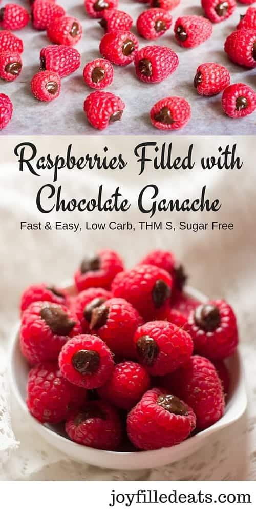 Raspberries Filled with Chocolate Ganache - Fast, Easy, Low Carb, THM S, Sugar Free, 4 Ingredients