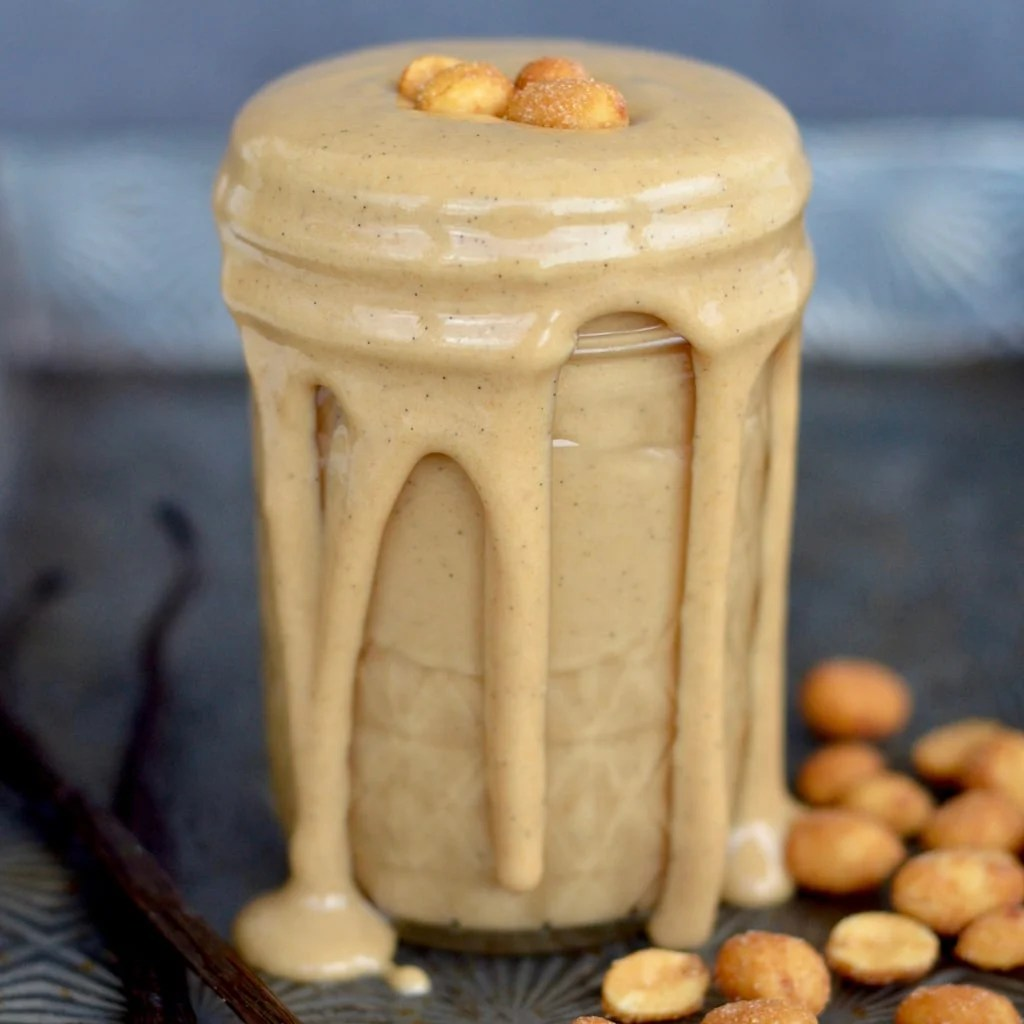 Honey Roasted Vanilla Bean Peanut Butter! 3 ingredients and 5 minutes is all it takes to make the most delicious peanut butter you will ever eat!