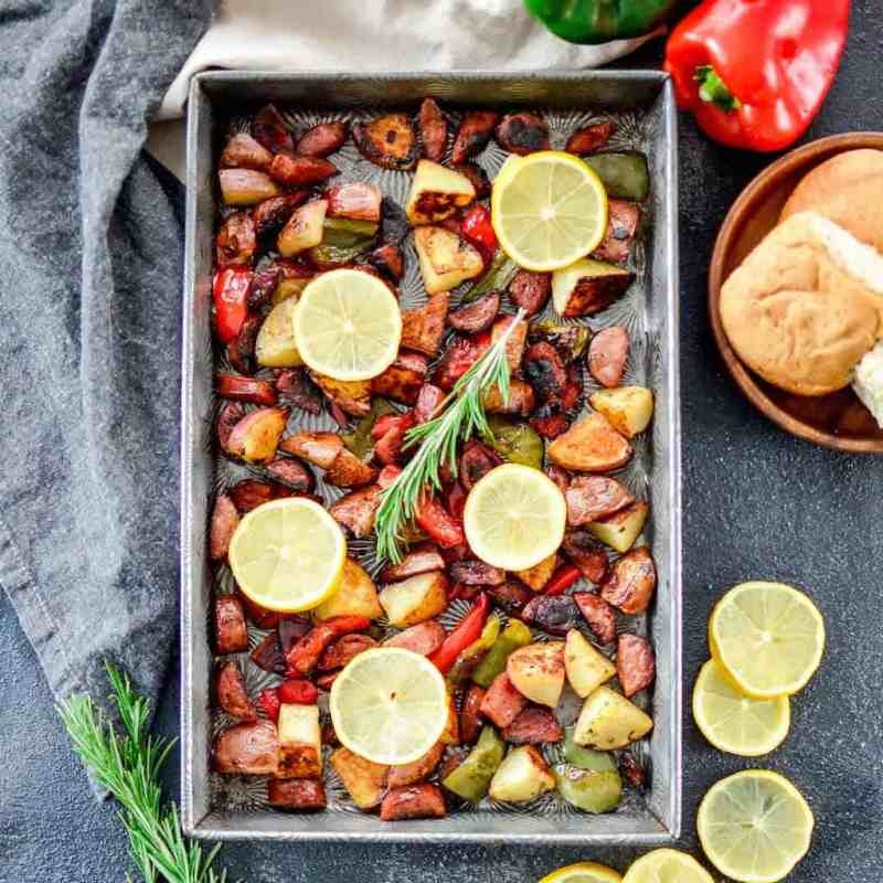 Large Of Sausage And Peppers In Oven