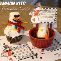 Snowman Snacks & Fudgie Marshmallow Cupcakes