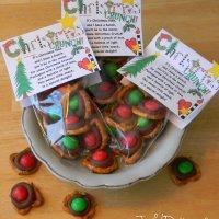 CHRISTMAS CRUNCH POEM & Chocolate Covered Pretzel Snack Packs