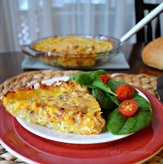 Quiche with bacon, hashbrowns and eggs