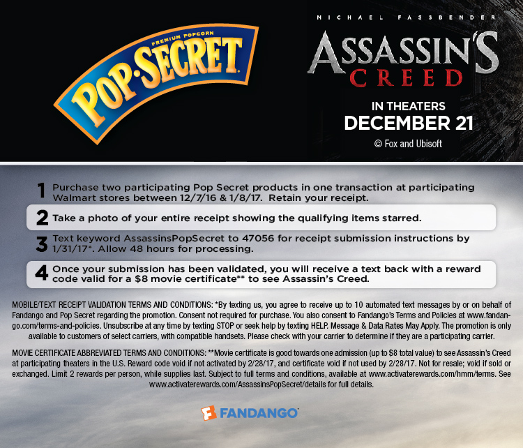 Pop Secrect Popcorn Assassin's Creed