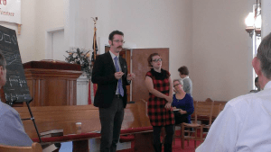 Jesse P. Karlsberg and Lauren Bock teach a singing school at Long Cane Baptist Church, near LaGrange, Georgia, October 27, 2014.