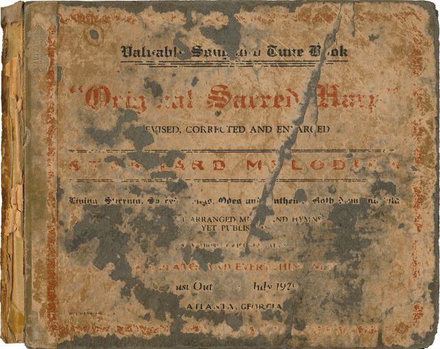 Front cover of J. S. James et al., eds., Original Sacred Harp (Atlanta, GA, 1929), [fourth printing].