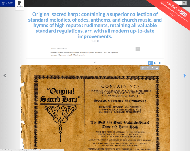 Viewing the title page of Original Sacred Harp in Readux BETA.