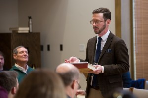 Speaking about the history and design of Original Sacred Harp at the joint session of the Society for Christian Scholarship in Music and the Emory singing. Photograph by Mark Karlsberg.