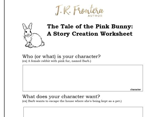 story creation worksheet, idea creation