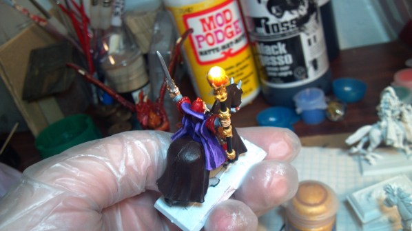 From November 23rd, almost completed mounted mage hand painted miniature. Click to Enlarge.