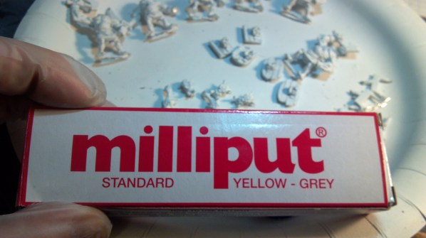 Milliput hobby putty, for assembling metal minis. Click to Enlarge.