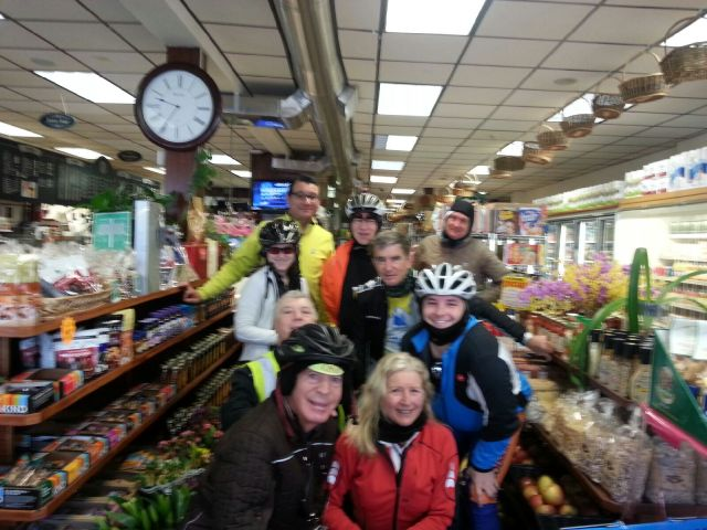 Our riding group at the Piermont Community Market. The photo is blurry probably because the photographer was shivering.