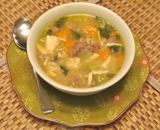 Hearty Sausage and Chicken Soup - Juggling With Julia