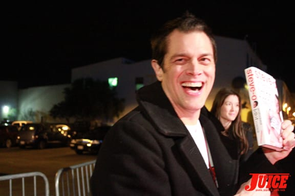 Johnny Knoxville promoting Steve-Os book!. Photo: Dan Levy