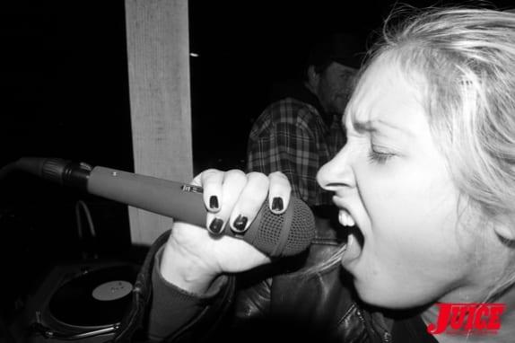 Rosie on the punk rock karaoke