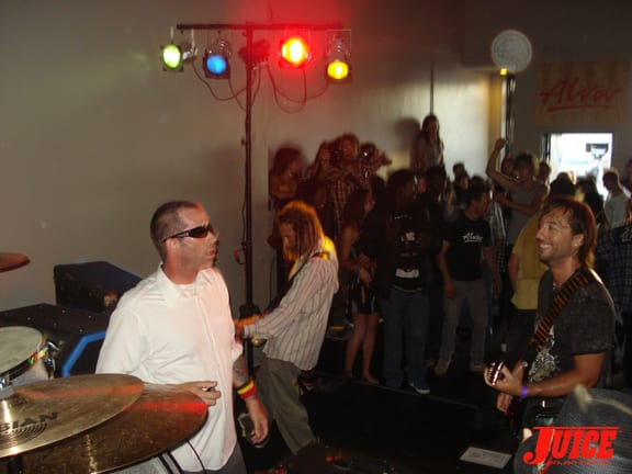 Tony Alva's new band, G.F.P., rippng up the stage.