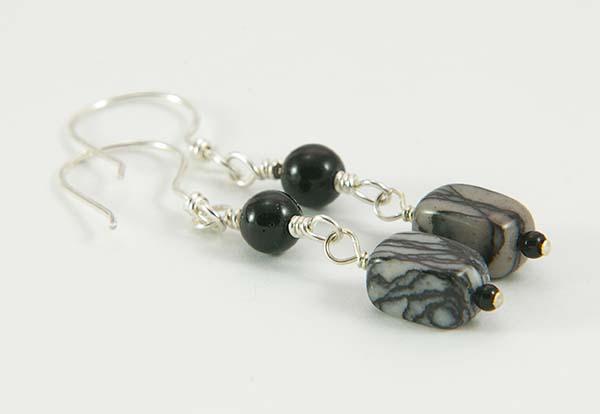 Onyx & Black Web Jasper Earrings