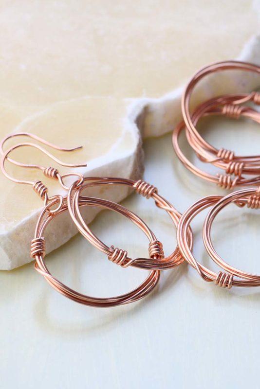 Copper dangle hoops in progress