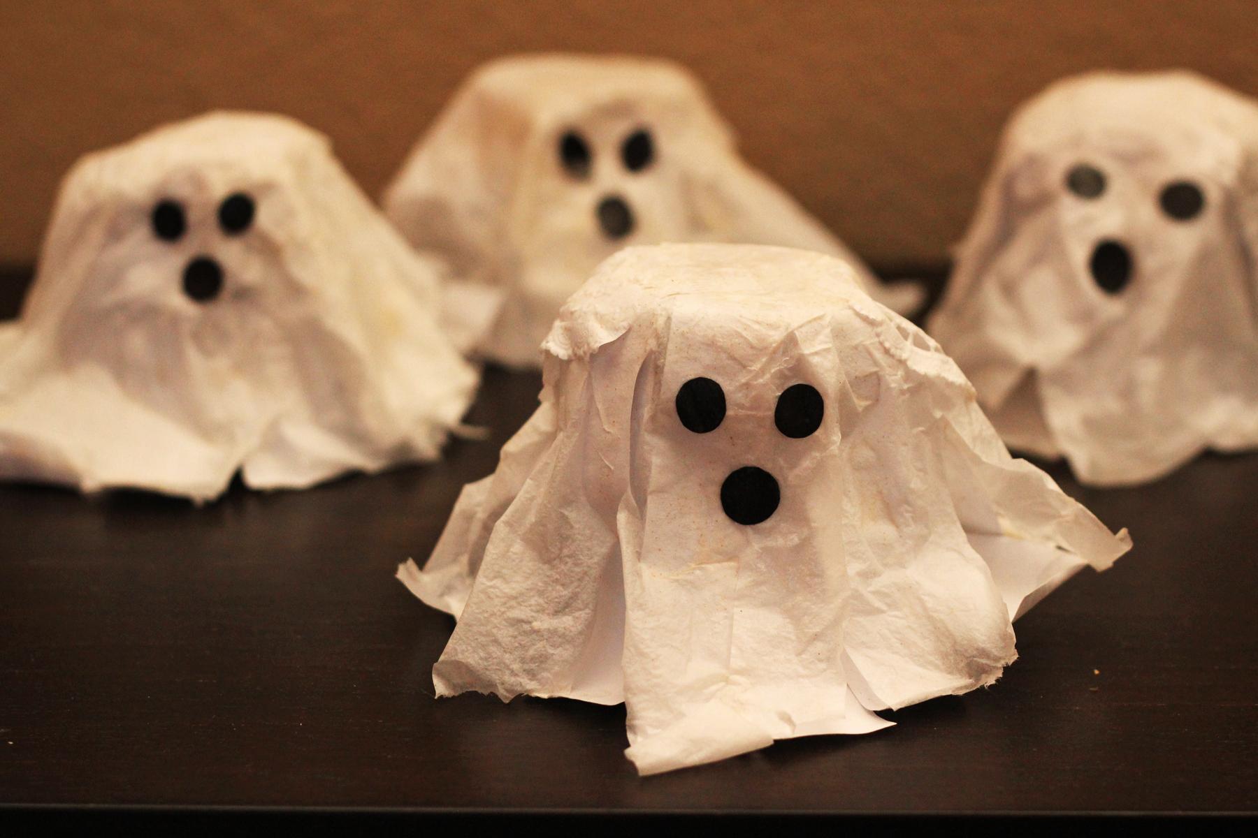 Привидения на хэллоуин из бумаги