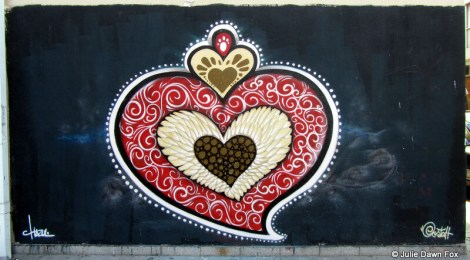 This fabulous Portuguese heart symbol adorns the wall outside the Miguel Bombarda Commercial Centre in Porto's arts and cultural district.