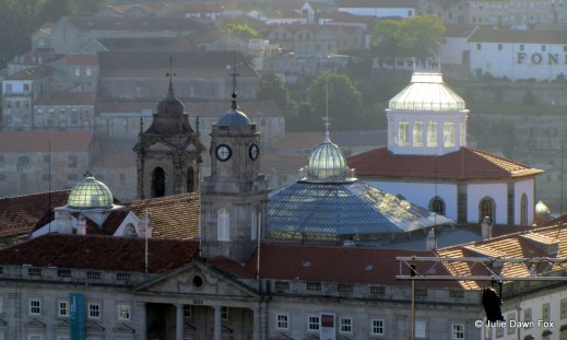 Sunlight brightens glass domes, Palacio da Bolsa, Porto