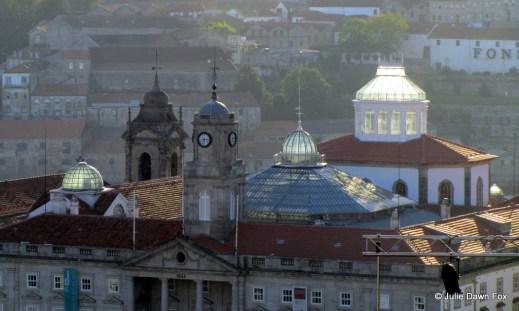 Sunlight brightens glass domes, Palacio da Bolsa, Porto