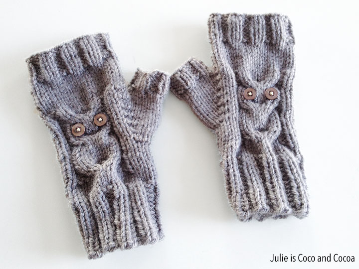 Owl Mittens Knitting Pattern : Owl Gloves Knit Pattern - Julie is Coco and Cocoa