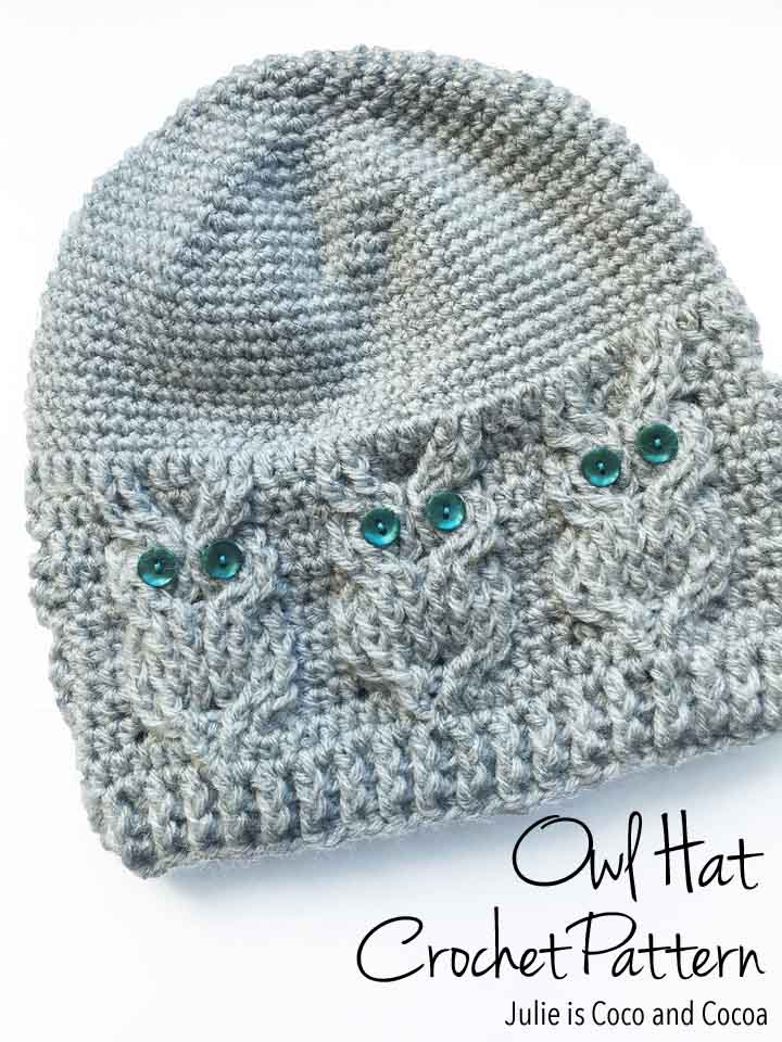 Owl Hat Crochet Pattern - Julie is Coco and Cocoa