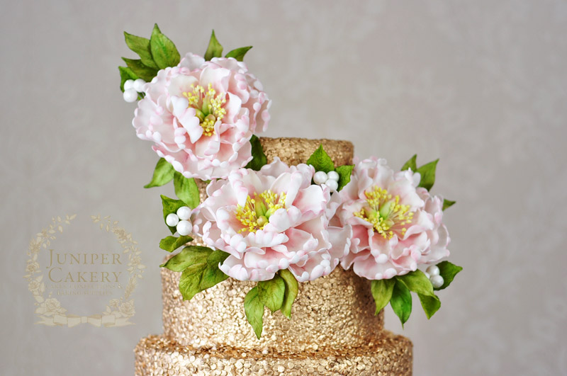 Peony Ruffle Wedding Cake florals by Juniper Cakery