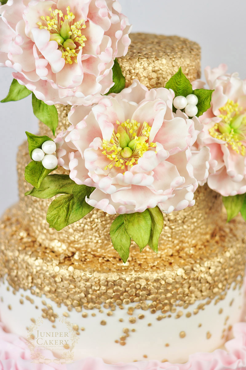 Luxurious pink and gold peony wedding cake by Juniper Cakery