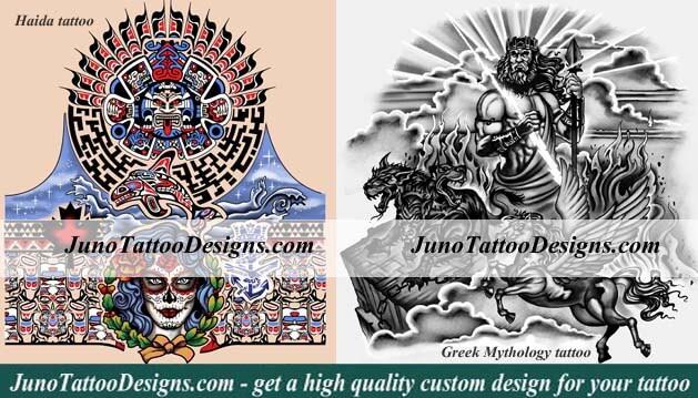 haida tattoo sleeve, greek mythology tattoo arm