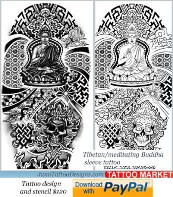 tibbetan tattoo template, buddha tattoo for arm,sleeve tattoo template