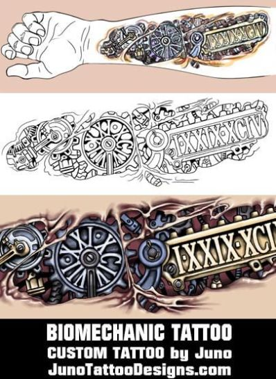 biomechanic tattoo, forearm tattoo, date tattoo, Juno Tattoo Designs