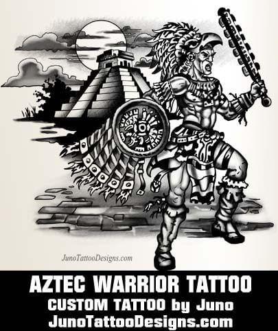 aztec warrior tattoo, calf tattoo, juno tattoo designs