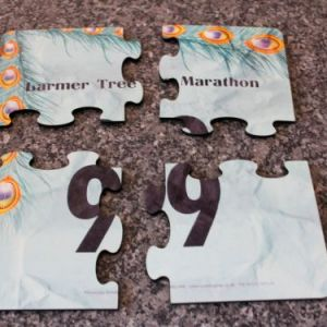 Race number jigsaw coasters