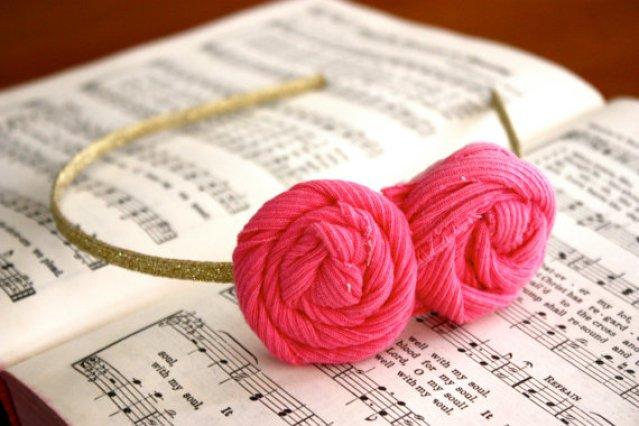 Double Hot Pink Rosette Headband