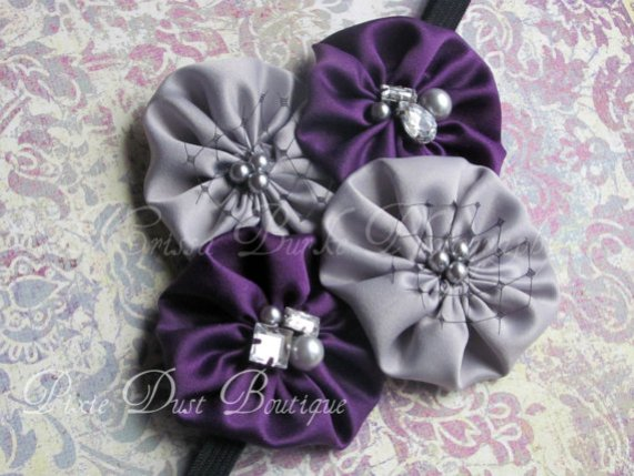 READY2SHIP-Purple and silver poppy headband-infant/toddler/preschooler
