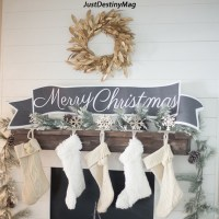 Christmas Mantel with Free Printable Banners