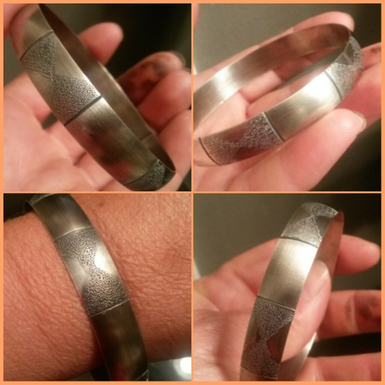 Making Jewelry - Handcrafted sterling silver bangle - by artisit Janice Fowler of Doxallo Studio