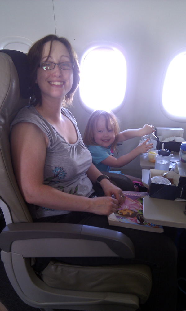 Amanda and Claire on the plane home