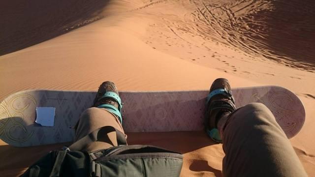 sand boarding at the Sahara Desert