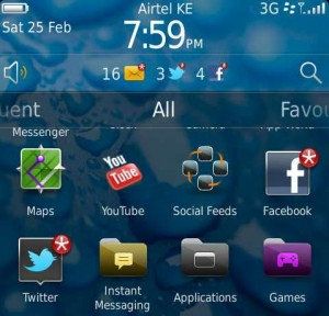 screenshot of Blackberry torch 2