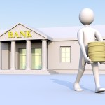 a man walking out of a bank with money