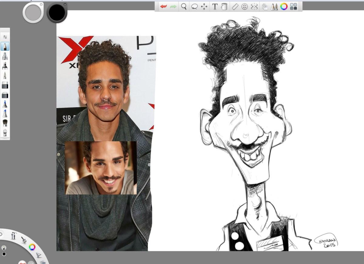 Ray Santiago from Ash Vs Evil dead caricature sketch