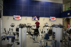 TV's placed around the equipment room so you don't miss a show while excersizing!