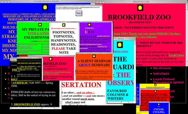 1997: mY uNOFFICIAL dUMPINGGROUND. Large hypertextual click-happy site (with traps).