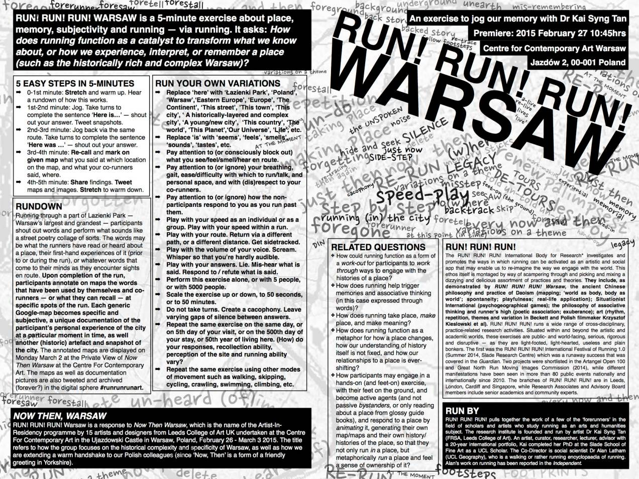 Back of worksheet outlining the idea behind the run.