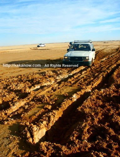 My 4x4 was stuck in the wet sand mud in the Sahara Desert.